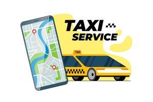 smartphone avec itinéraire de transfert en taxi et géolocalisation de l'adresse d'arrivée de la broche de localisation gps sur le plan de la ville concept d'application mobile de service de commande de taxi en ligne. obtenir l'illustration vectorielle de l'application de positionnement de taxi jaune vecteur