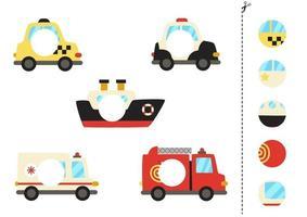 couper et coller des parties de moyens de transport de dessins animés.