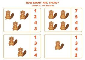 jeu de mathématiques de comptage avec des castors de dessin animé mignon. vecteur