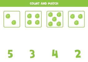 jeu de comptage pour les enfants. jeu de mathématiques avec des choux de dessin animé.