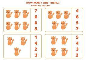 jeu de mathématiques de comptage avec des chats mignons de bande dessinée. vecteur