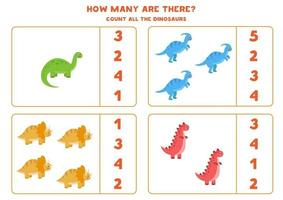 jeu de comptage pour les enfants. jeu de mathématiques avec des dinosaures de dessins animés.