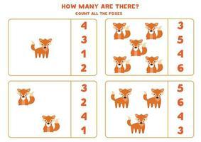 jeu de mathématiques de comptage avec des renards de dessin animé mignon. vecteur