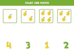 jeu de mathématiques de comptage avec des citrons de dessin animé mignon. vecteur