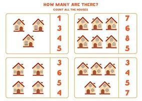 comptage feuille de calcul avec des maisons de dessin animé. jeu éducatif. vecteur