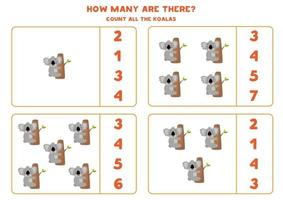 jeu de mathématiques de comptage avec des koalas de dessin animé mignon. vecteur
