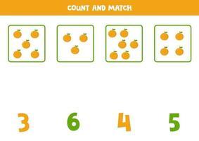 jeu de comptage pour les enfants. jeu de mathématiques avec des oranges de dessin animé. vecteur
