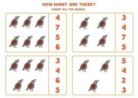 jeu de comptage pour les enfants. jeu de mathématiques avec des cailles de dessin animé.
