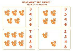 jeu de mathématiques de comptage avec des écureuils mignons de bande dessinée. vecteur