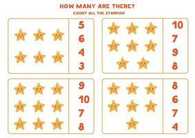 jeu de mathématiques de comptage avec des étoiles de mer de dessin animé mignon