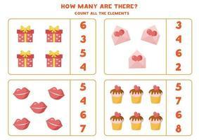 compter tous les coeurs de la Saint-Valentin. feuille de calcul mathématique pour les enfants. vecteur
