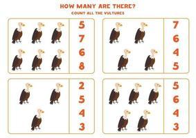 jeu de mathématiques de comptage avec des vautours de dessin animé mignon. vecteur