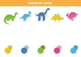 jeu d'association avec des dinosaures. connectez-vous avec les bonnes palettes de couleurs. vecteur