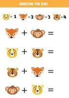 résoudre l'équation mathématique. visages de dessin animé mignon d'animaux.