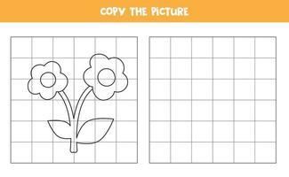 copiez l'image. fleur de dessin animé. jeu logique pour les enfants.