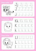 écrire des lettres j, k, l. page de traçage. feuille de calcul pour les enfants. feuille de pratique. apprendre l'alphabet. personnages mignons. illustration vectorielle. style de bande dessinée. vecteur