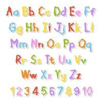 alphabet anglais. ensemble de vecteurs. style de couleur vive. dessin animé abc. police dessinée à la main drôle. chiffres, lettres minuscules et majuscules. vecteur