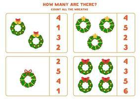 jeu de comptage pour les enfants. ensemble de couronnes de Noël. vecteur