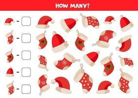jeu de comptage avec des chaussettes et des chapeaux de Noël. vecteur