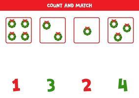jeu de comptage avec des couronnes de Noël. feuille de calcul mathématique. vecteur