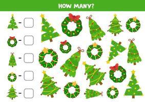 jeu de mathématiques pour les enfants. jeu de comptage avec des couronnes de Noël.