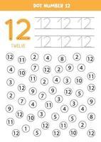 trouver et colorier le numéro 12. jeu de mathématiques pour les enfants.