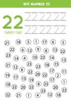 trouver et colorier le numéro 22. jeu de mathématiques pour les enfants. vecteur