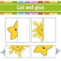 coupez et jouez avec l'étoile et le soleil. jeu de papier avec de la colle. cartes flash. feuille de travail de l'éducation. page d'activité. personnage drôle. illustration vectorielle isolé. style de bande dessinée.