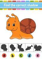trouver l'escargot d'ombre correct. feuille de travail sur le développement de l'éducation. page d'activité. jeu de couleurs pour enfants. illustration vectorielle isolé. personnage de dessin animé.