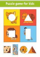 jeu de puzzle pour les enfants. couper et coller. pratique de coupe. l'apprentissage des formes. feuille de travail de l'éducation. cercle, carré, rectangle, triangle. page d'activité. personnage de dessin animé.