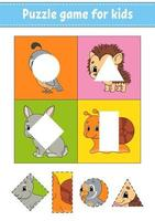 jeu de puzzle pour les enfants. couper et coller. pratique de coupe. l'apprentissage des formes. feuille de travail de l'éducation. cercle, carré, rectangle, triangle. page d'activité. personnage de dessin animé. vecteur