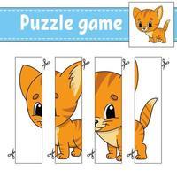 jeu de puzzle pour enfants avec chat. pratique de coupe. feuille de travail sur le développement de l'éducation. page d'activité. personnage de dessin animé.