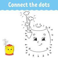 jeu point à point avec théière. tracer une ligne. pour les enfants. feuille de travail d'activité. livre de coloriage. avec réponse. personnage de dessin animé. illustration vectorielle.