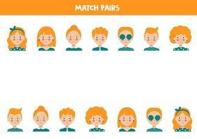 trouver paire à chaque portrait de personne. jeu de correspondance logique. vecteur
