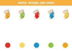 assortissez les chaussettes et les couleurs de Noël. puzzle logique éducatif.