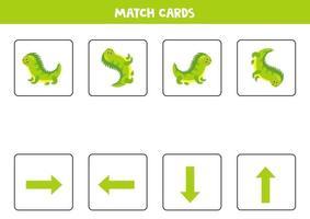 orientation spatiale pour les enfants avec un iguane de dessin animé mignon.