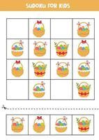 jeu de sudoku. ensemble de paniers de Pâques avec des oeufs.