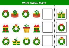 ce qui vient prochain jeu logique. couronnes et cadeaux de Noël de dessin animé. vecteur