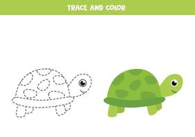 tracez et coloriez la tortue mignonne. feuille de calcul de l'espace pour les enfants.