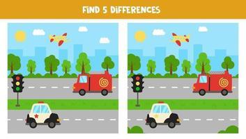 trouvez 5 différences entre les images. moyens de transport. vecteur