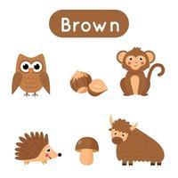 cartes flash avec des objets de couleur marron. feuille de travail imprimable éducative. vecteur
