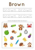 apprendre la couleur brune pour les enfants d'âge préscolaire. pratique de l'écriture. vecteur
