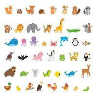grande collection d'animaux et d'oiseaux sauvages et domestiques. vecteur