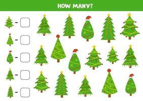 jeu de comptage pour les enfants. feuille de calcul de Noël. compter tous les sapins. vecteur
