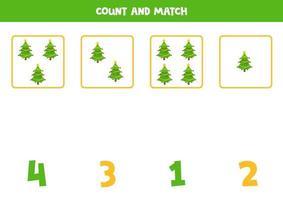 comptage feuille de calcul avec des sapins de dessin animé. vecteur