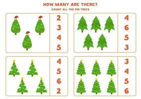 comptez tous les arbres de Noël. jeu de mathématiques pour les enfants d'âge préscolaire. vecteur