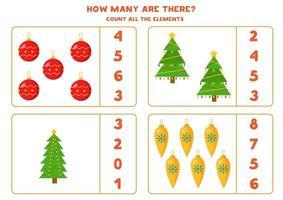 jeu de comptage pour les enfants. feuille de calcul mathématique avec des boules de Noël et des arbres. vecteur
