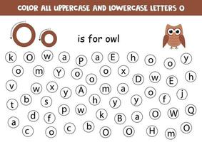 trouver et colorier toutes les lettres o. jeux d'alphabet pour les enfants.