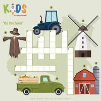 sur le puzzle de mots croisés de la ferme
