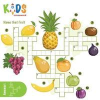 nommez ce puzzle de mots croisés de fruits vecteur